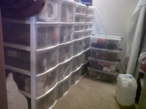 This is the yarn stash. All of the yarn in the drawers is sorted by type and color.