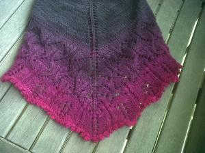 I think that the cowl really shines with the color changes. I was running out of cowl just as I arrived at the brightest magenta yarn so I added a picot bind-off again.
