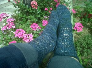 Finished socks on feet.