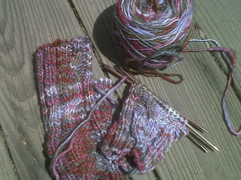 Mitts with ugly yarn.