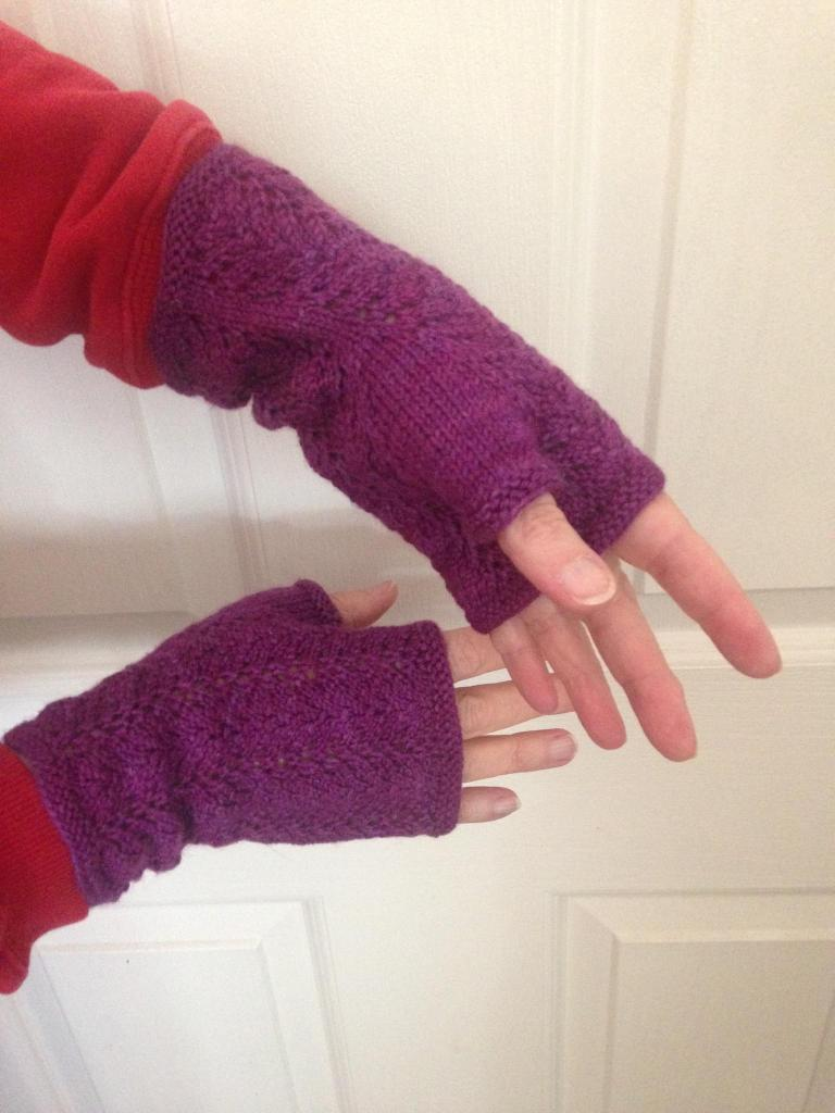 and here are the same mitts this morning on their new owner's hands. :-)