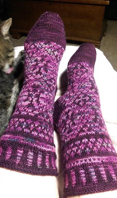 Socks on feet.
