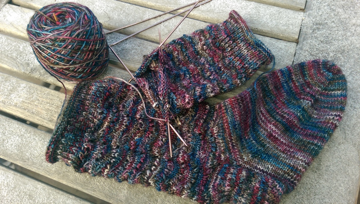 WIP Wednesday: Socks, Mitts and a Shawl