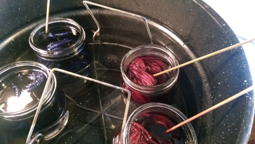 Dye jars in the water bath.