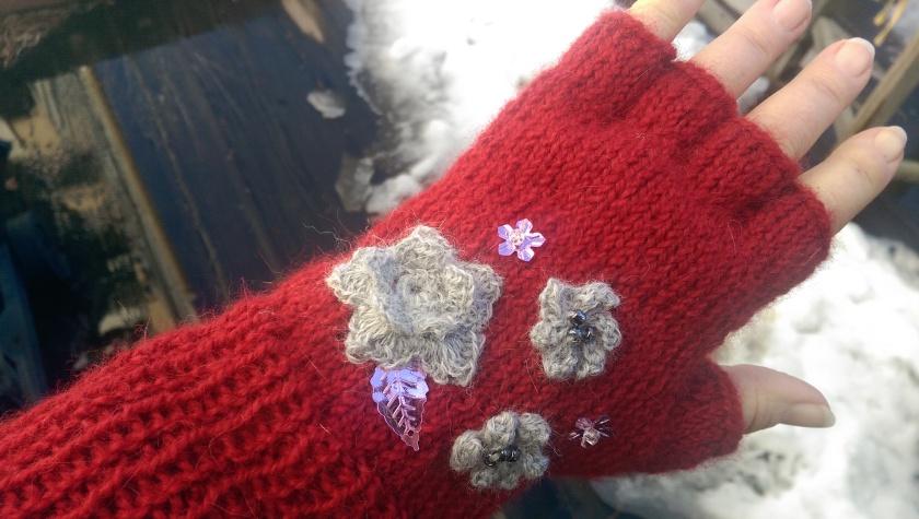 Embellished mitts