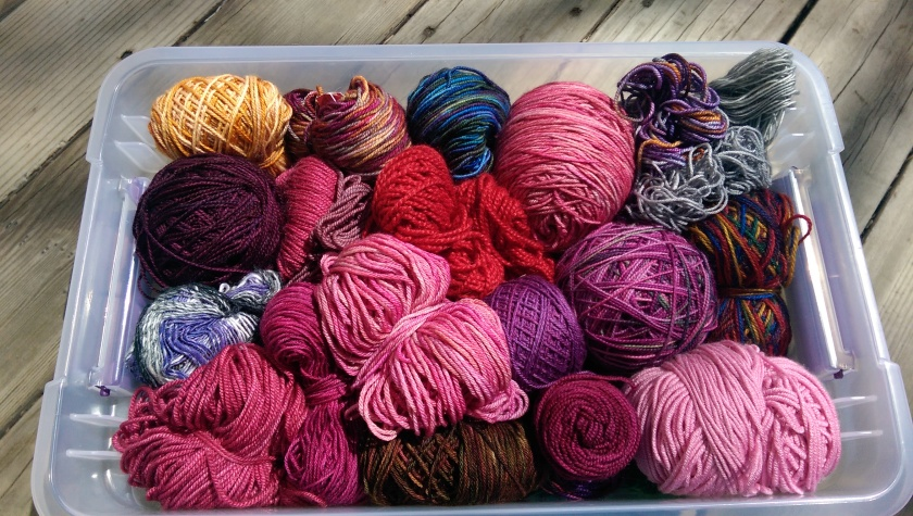 Box of sock yarn leftovers.