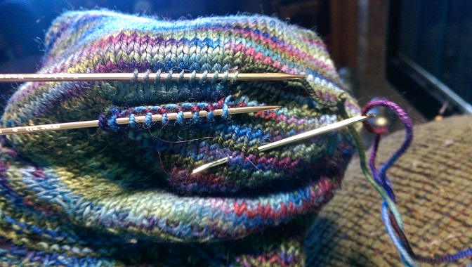 Joining new heel to bottom of the sock.