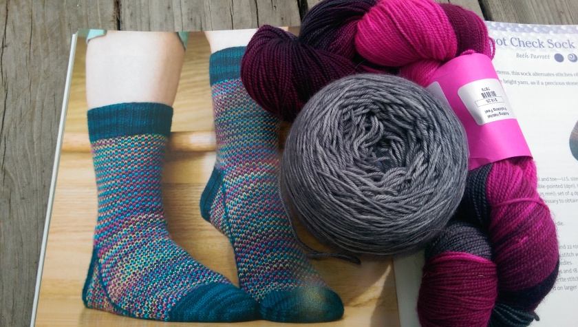 Sock pattern and yarns.