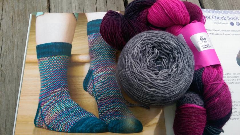 Sock pattern and yarns.