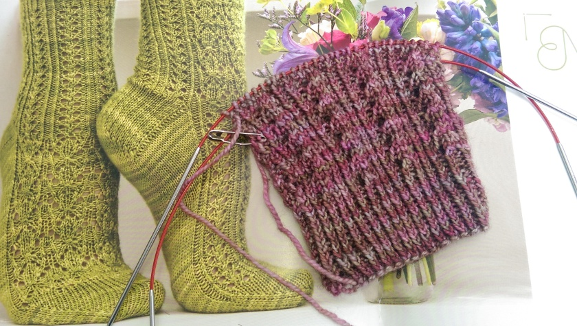 This sock is Milfoil by Rachel Coopey from hr book CoopKnits Socks. The yarn is Madelinetosh Sock in the colorway Grenadine.