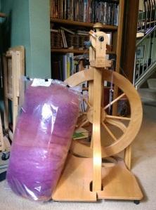 Batt and spinning wheel