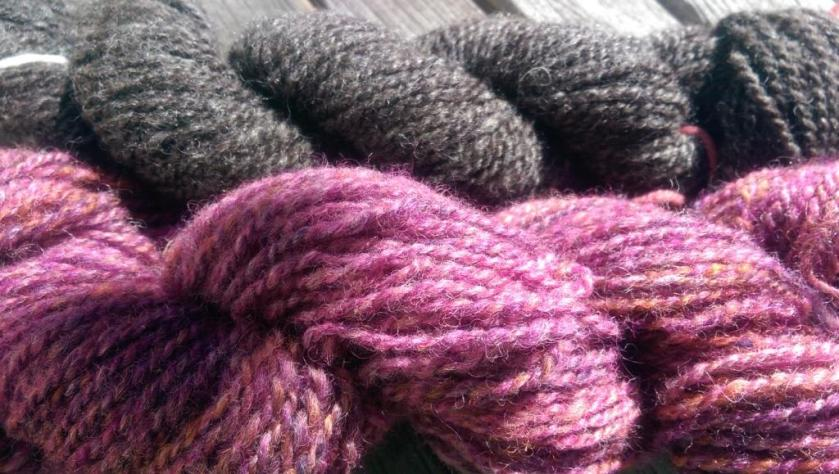 Charcoal and colored yarns