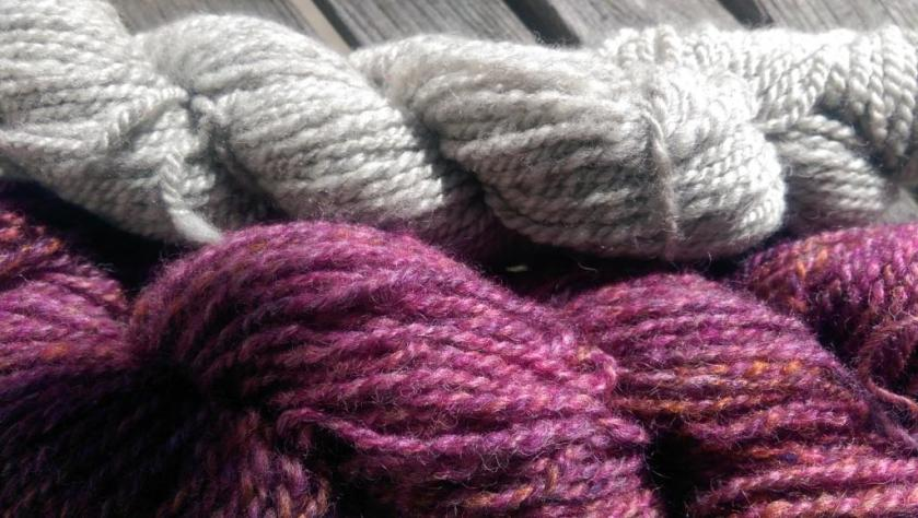 Grey and colored yarns