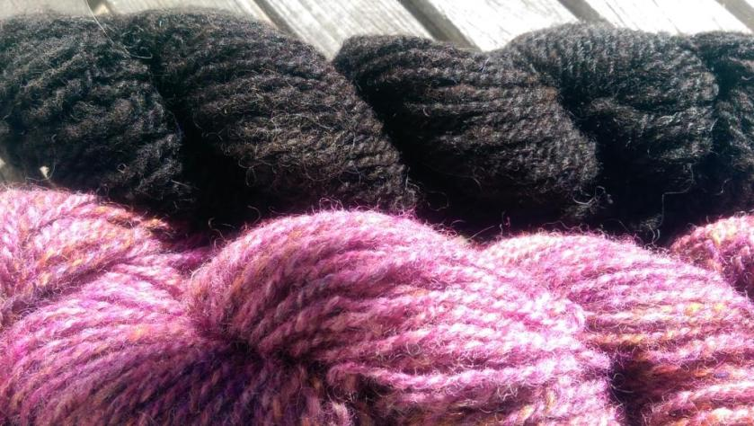 Black and colored yarn