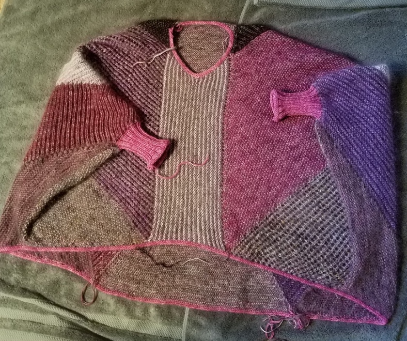 Blocking the sweater.
