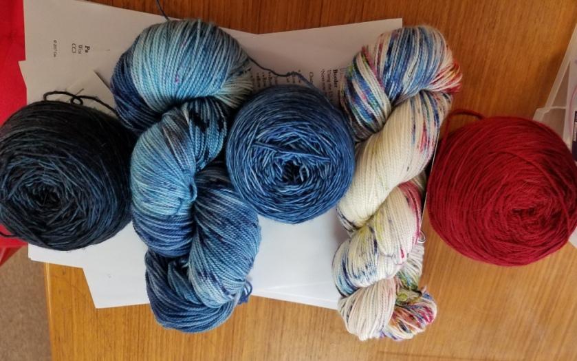 Yarns for shawl.