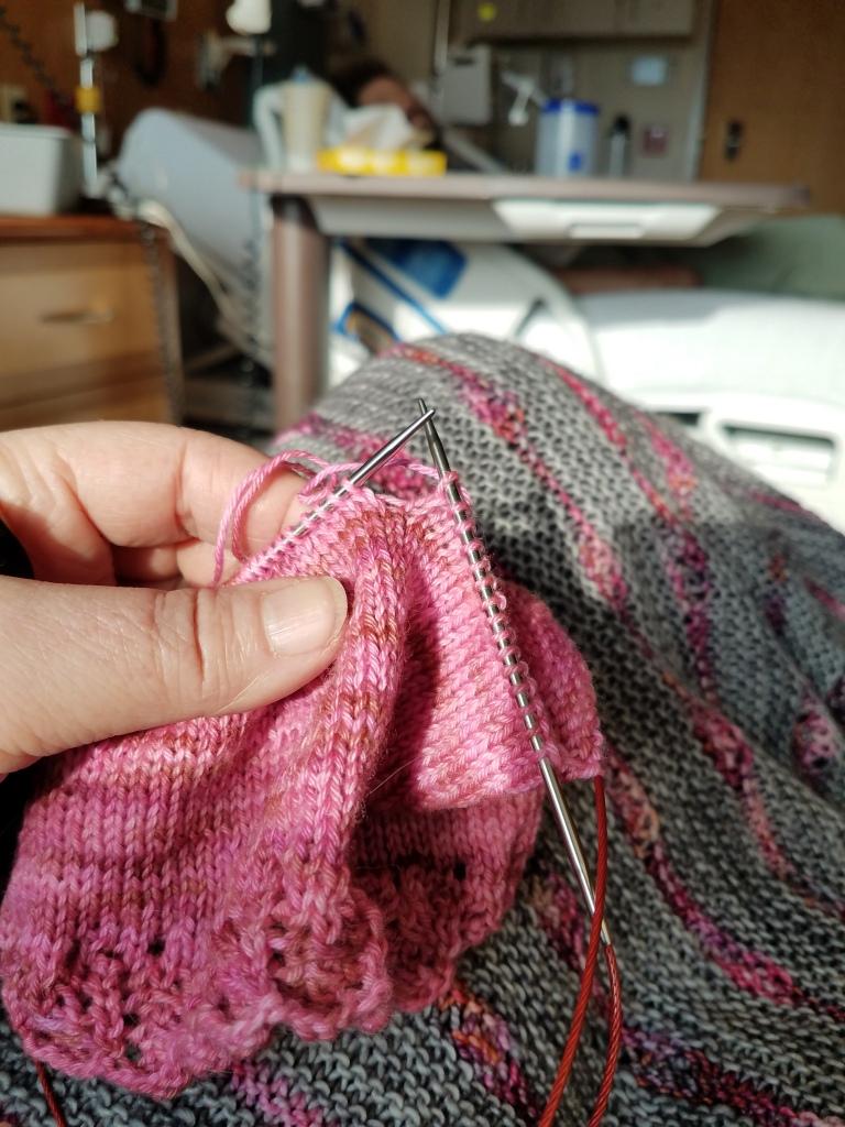 Knitting at the hospital.