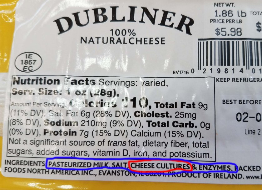 Cheese label.