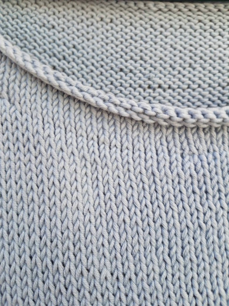 Neck edge of sweater.