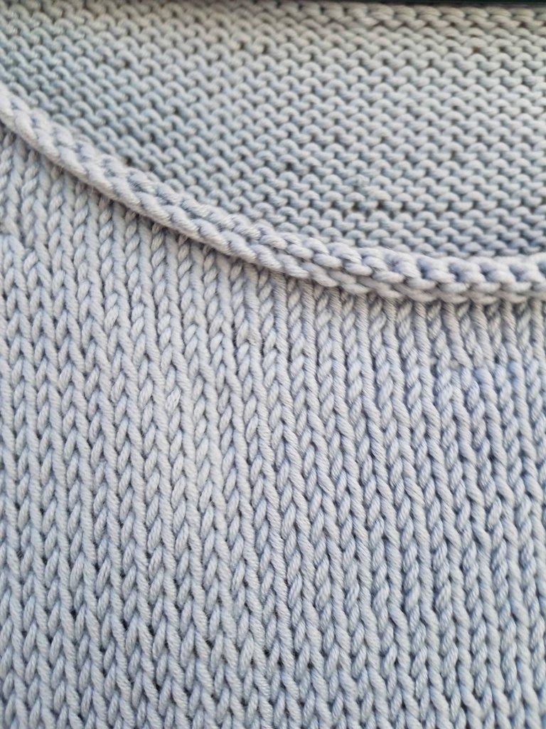 Neck edge of sweater.