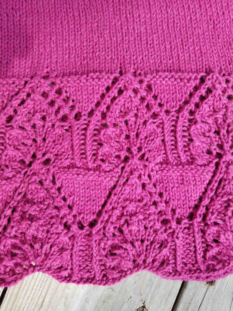Lace detail of the sweater.