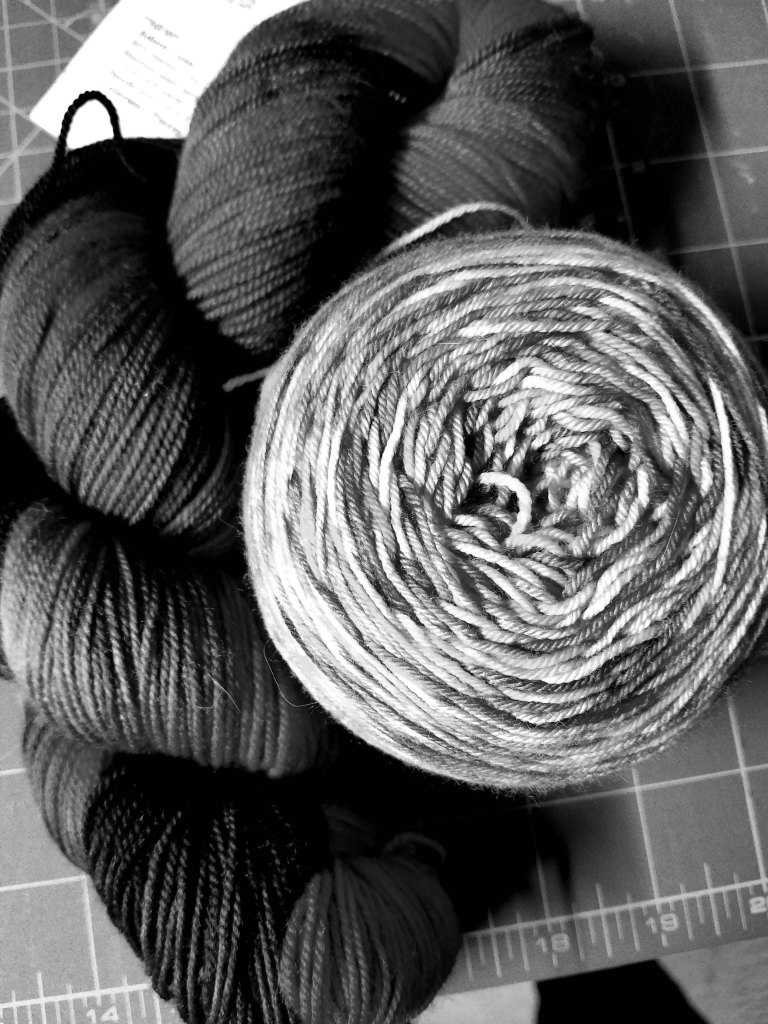Greyscale of yarn.