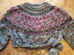 Sweater in progress.