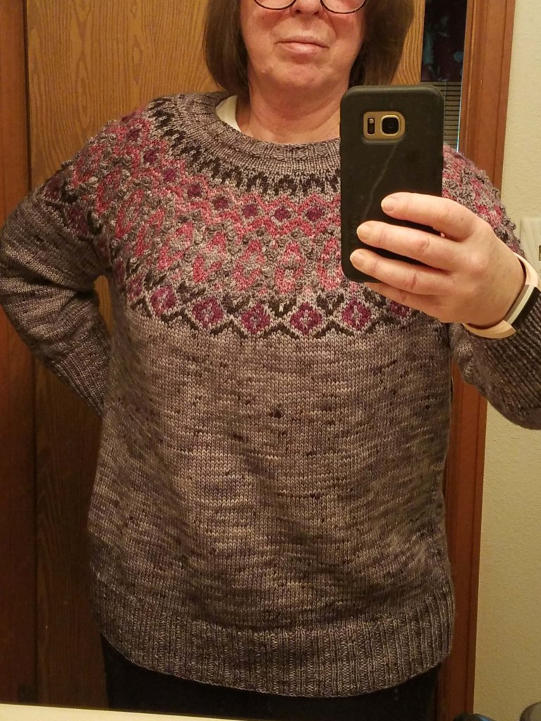Finished sweater on the Mother of Cats.