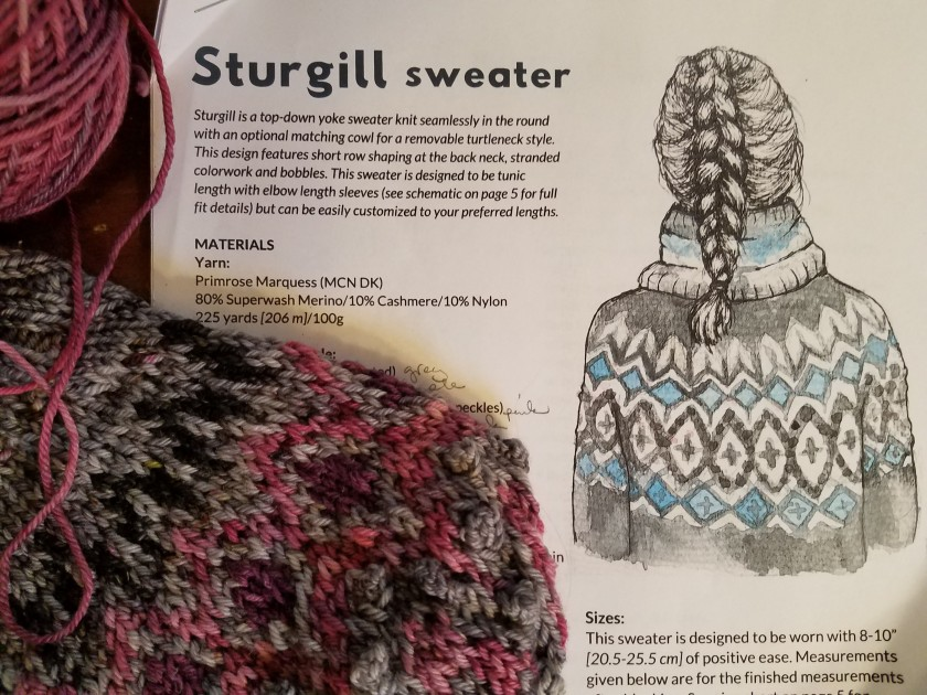 Sturgill pattern by Caitlin Hunter and the author's work in progress.