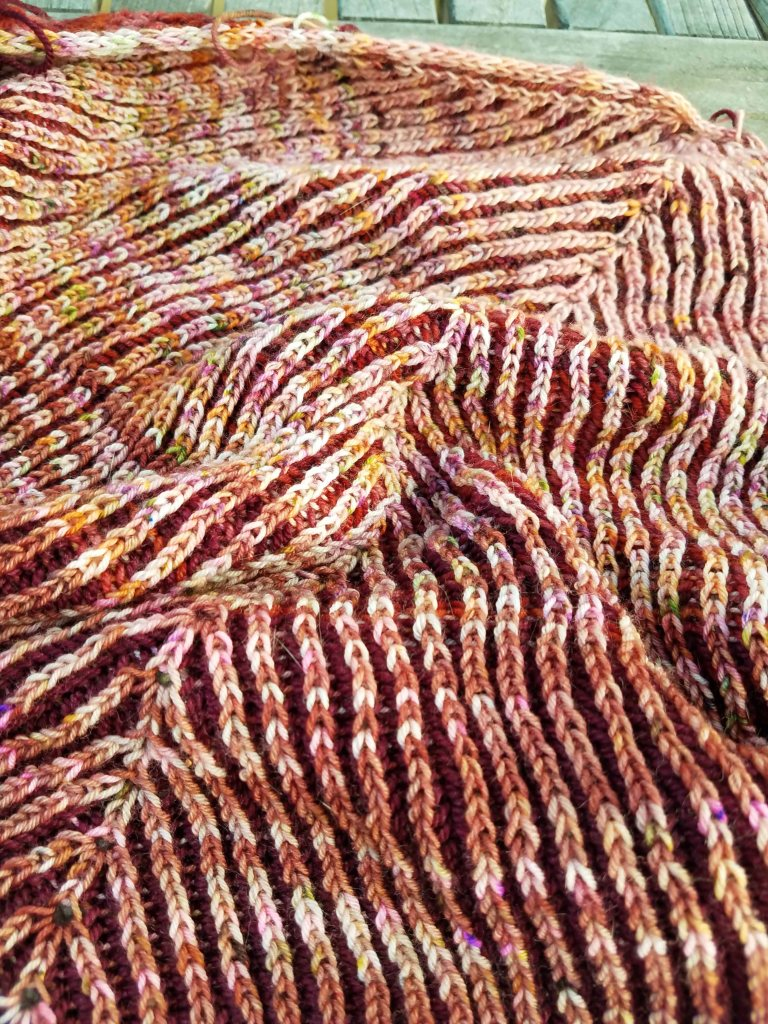 Brioche section of What the Fade?! shawl.